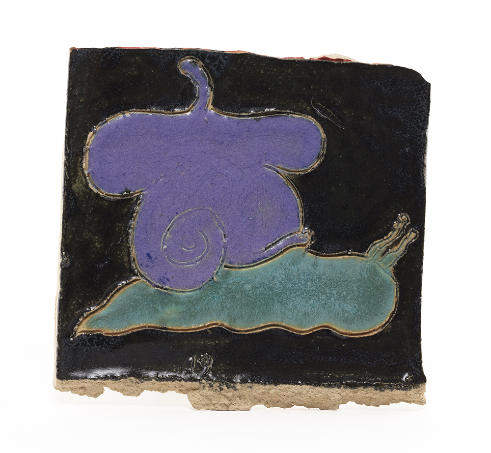 Kevin McNamee-Tweed. <em>Snail with Beret Shell</em>, 2019. Glazed ceramic, 4 x 4 1/4 inches (10.2 x 10.8 cm)