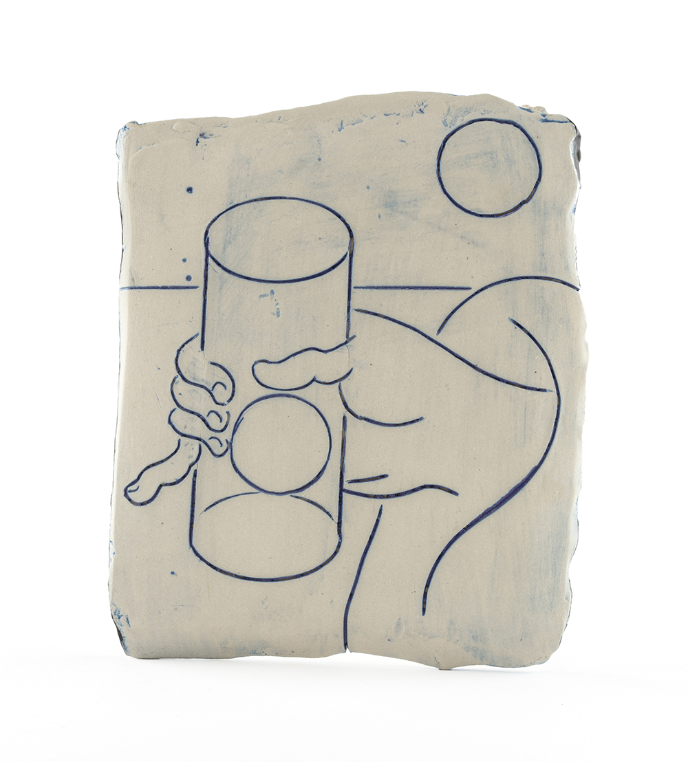 Kevin McNamee-Tweed. <em>Glass of Water Containing Sun and Moon</em>, 2020. Glazed ceramic, 6 1/2 x 5 1/4 inches (16.5 x 13.3 cm)