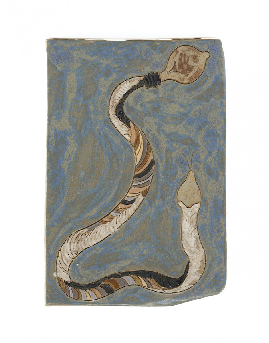 Kevin McNamee-Tweed. Snake with Bulb (Ideas), 2020. Glazed ceramic, 12 3/4 x 8 1/2 inches (32.4 x 21.6 cm)