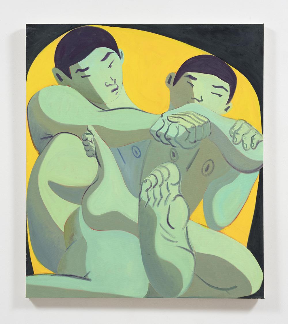 Mark Yang. <em>Locked</em>, 2020 Oil on canvas 46 x 40 inches (116.8 x 101.6 cm)