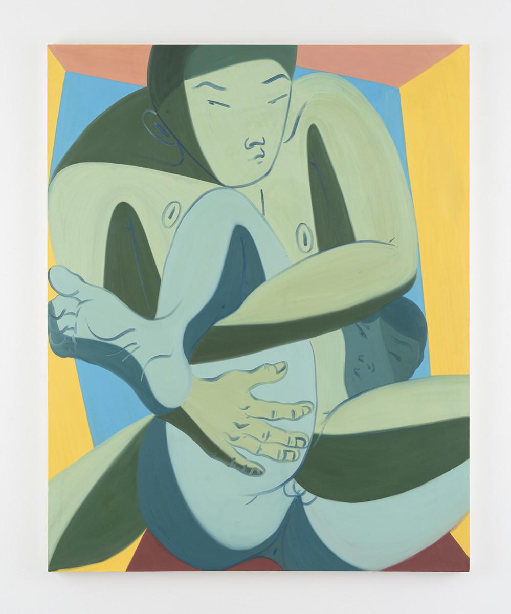 Mark Yang. <em>Reverse Single Leg</em>, 2019 Oil on canvas 75 x 60 inches (190.5 x 152.4 cm)