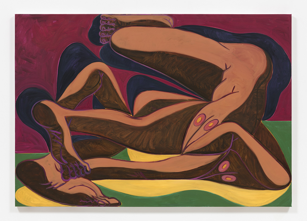 Mark Yang. <em>Fulcrum</em>, 2020. Oil on canvas, 45 1/4 x 65 3/4 inches (114.9 x 167 cm)
