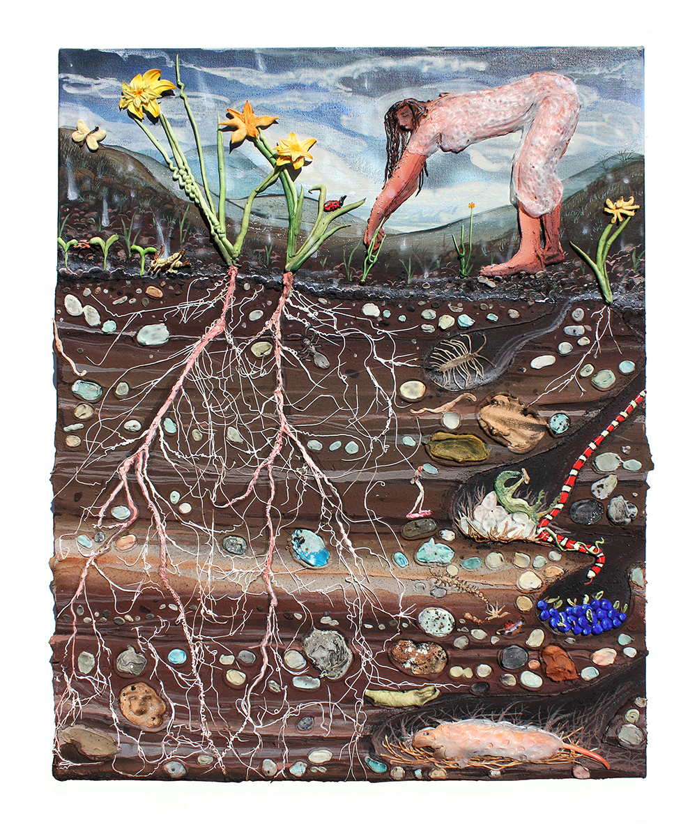 <em>Night Dress and The Daffodils</em>, 2020. Acrylic, watercolor, vinyl paint, sand, pumice, oil stick and oil pastel on canvas, 24 1/4 x 19 1/2 x 2 inches (61.6 x 49.5 x 5.1 cm)