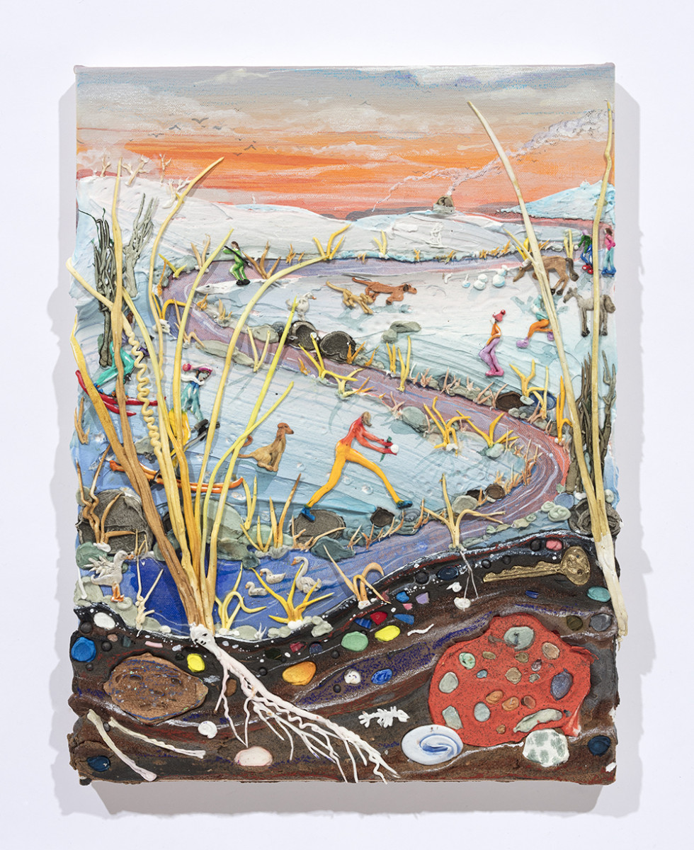 <em>A Walk In The Snow</em>, 2020. Acrylic, watercolor, crushed garnet, sand, pumice, graphite, cast iron, cast brass, micro plastics from Lake Michigan, glass and oil pastel on canvas, 16 1/2 x 12 1/2 x 1 1/2 inches  (41.9 x 31.8 x 3.8 cm)