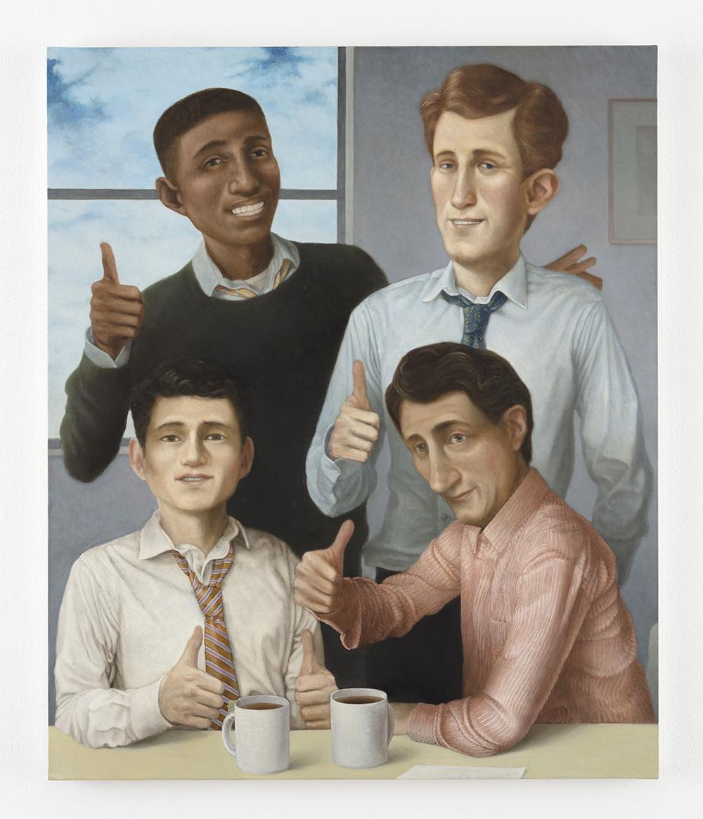 Pablo Barba. Company Men, 2021. Oil on linen, 36 x 30 inches (91.4 x 76.2 cm)