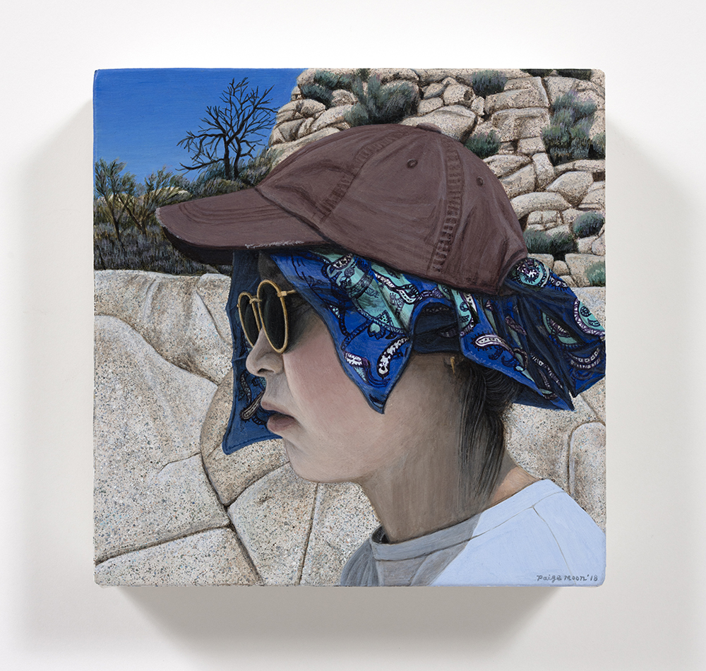 Paige Jiyoung Moon. <em>A Hiker</em>, 2018. Acrylic on canvas, 6 x 6 inches (15.2 x 15.2 cm)