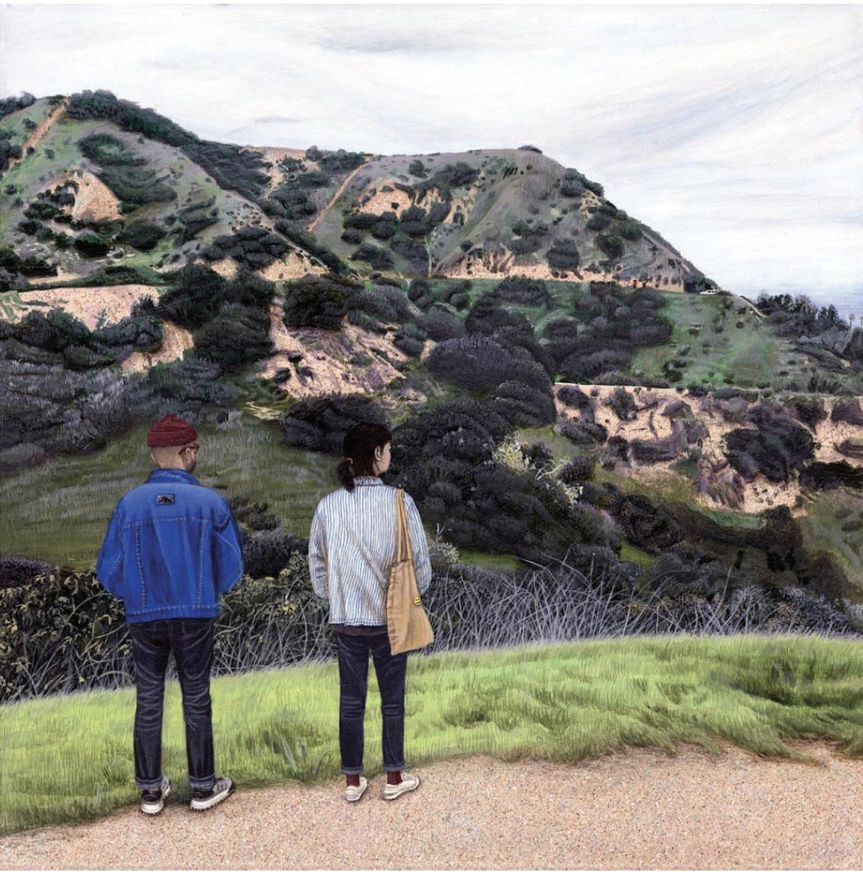 Paige Jiyoung Moon. <em>Griffith Park Hiking</em>, 2018. Acrylic on canvas, 10 x 10 inches (25.4 x 25.4 cm)