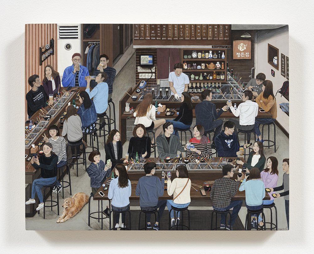 Paige Jiyoung Moon. <em>Warm House</em>, 2018. Acrylic on panel, 10 3/4 x 14 1/4 inches (27.3 x 36.2 cm)