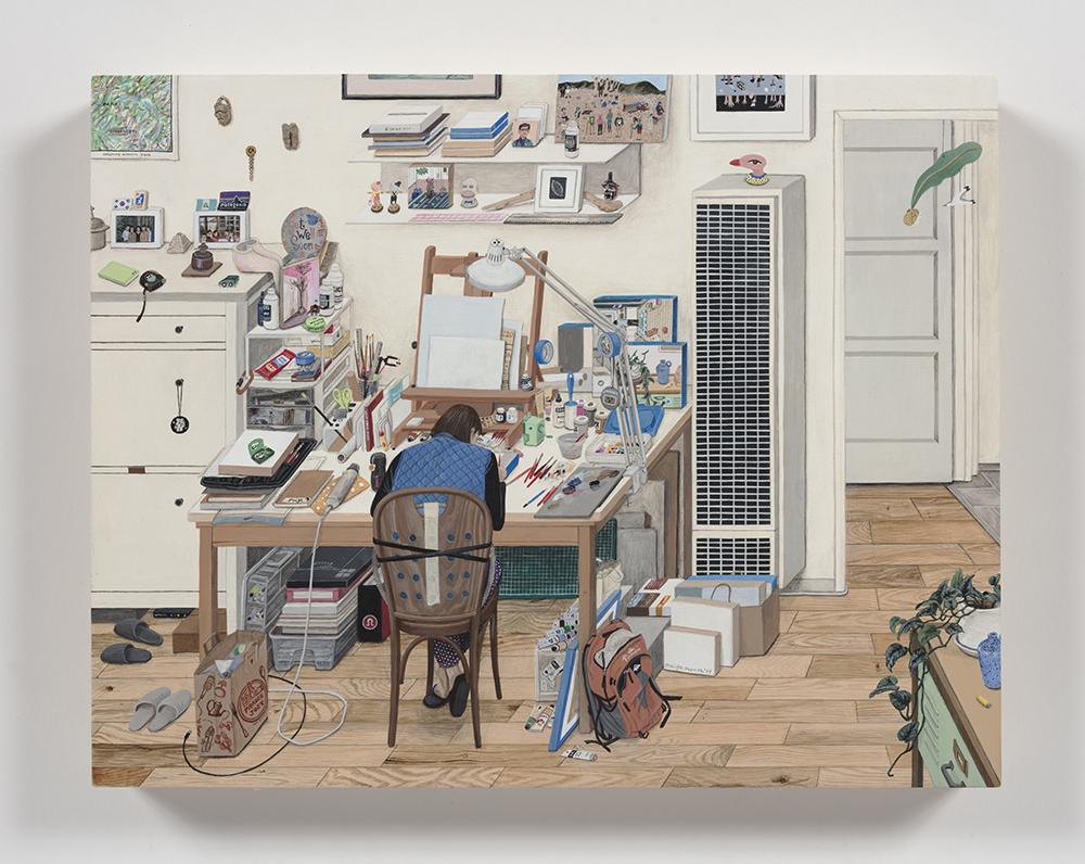 Paige Jiyoung Moon. <em>132 Studio</em>, 2019. Acrylic on panel, 11 x 14 inches (27.9 x 35.6 cm)