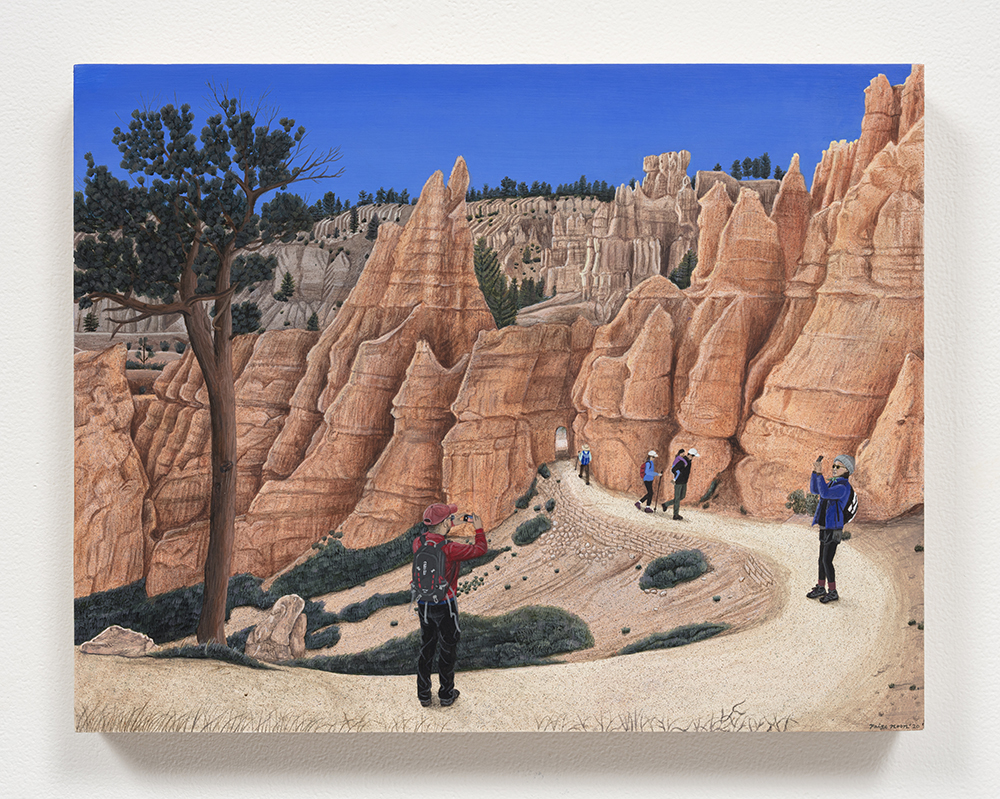 Paige Jiyoung Moon. <em>Bryce Canyon and Us</em>, 2020. Acrylic on panel, 11 x 14 inches (27.9 x 35.6 cm)