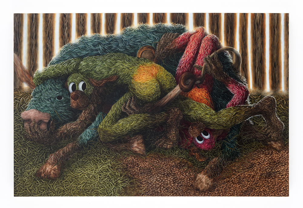 Drew Dodge. <em>Brown-nosers</em>, 2021. Oil on canvas, 48 x 72 inches (121.9 x 182.9 cm)