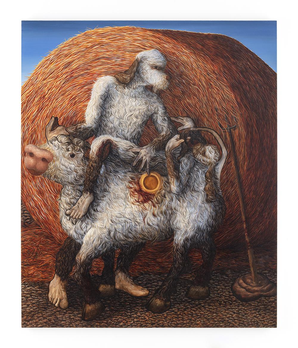 Drew Dodge. <em>Holy Shit</em>, 2020. Oil on canvas, 72 x 60 inches  (182.9 x 152.4 cm)