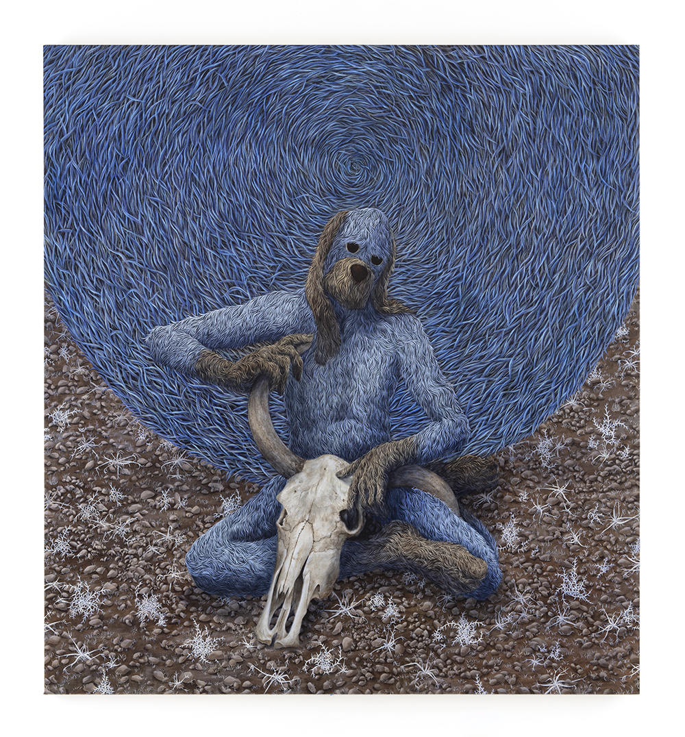 Drew Dodge. <em>Lullaby</em>, 2021. Oil on canvas, 72 x 66 inches (182.9 x 167.6 cm)