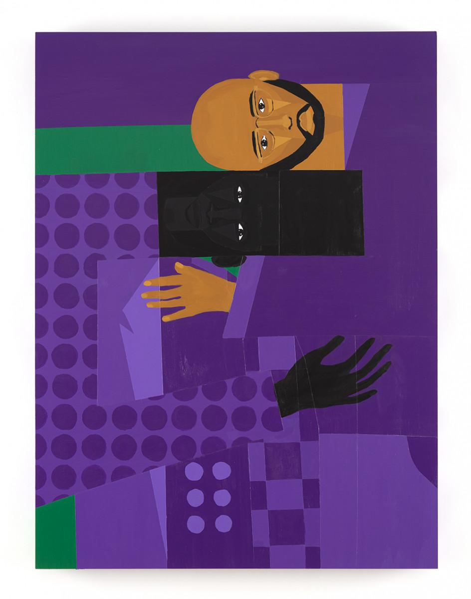 Jon Key. <em>Leandro and Jon (Chosen Family No. 4)</em>, 2021. Acrylic on panel, 40 x 30 inches (101.6 x 76.2 cm)