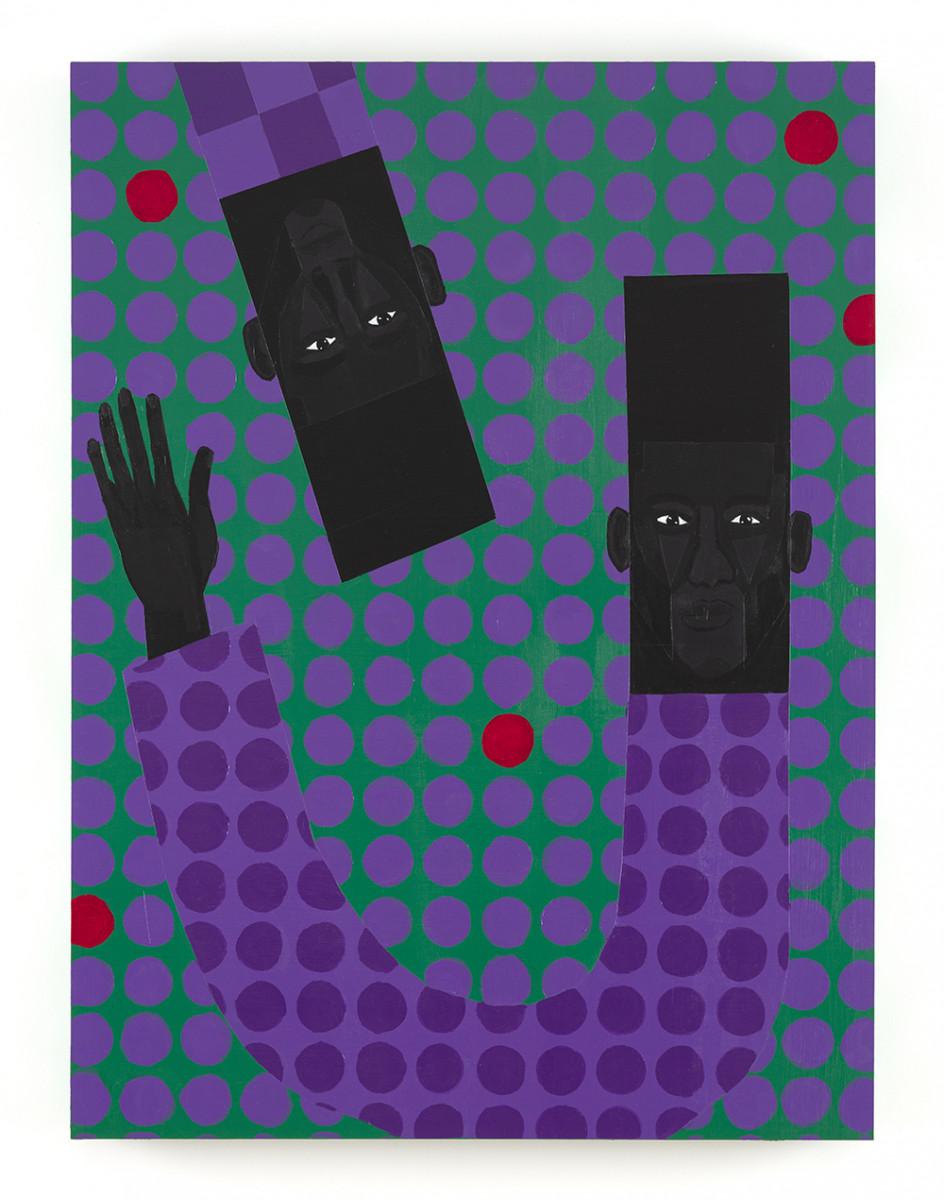 Jon Key. <em>Jarrett and Jon (Chosen Family No. 5)</em>, 2021. Acrylic on panel, 40 x 30 inches (101.6 x 76.2 cm)