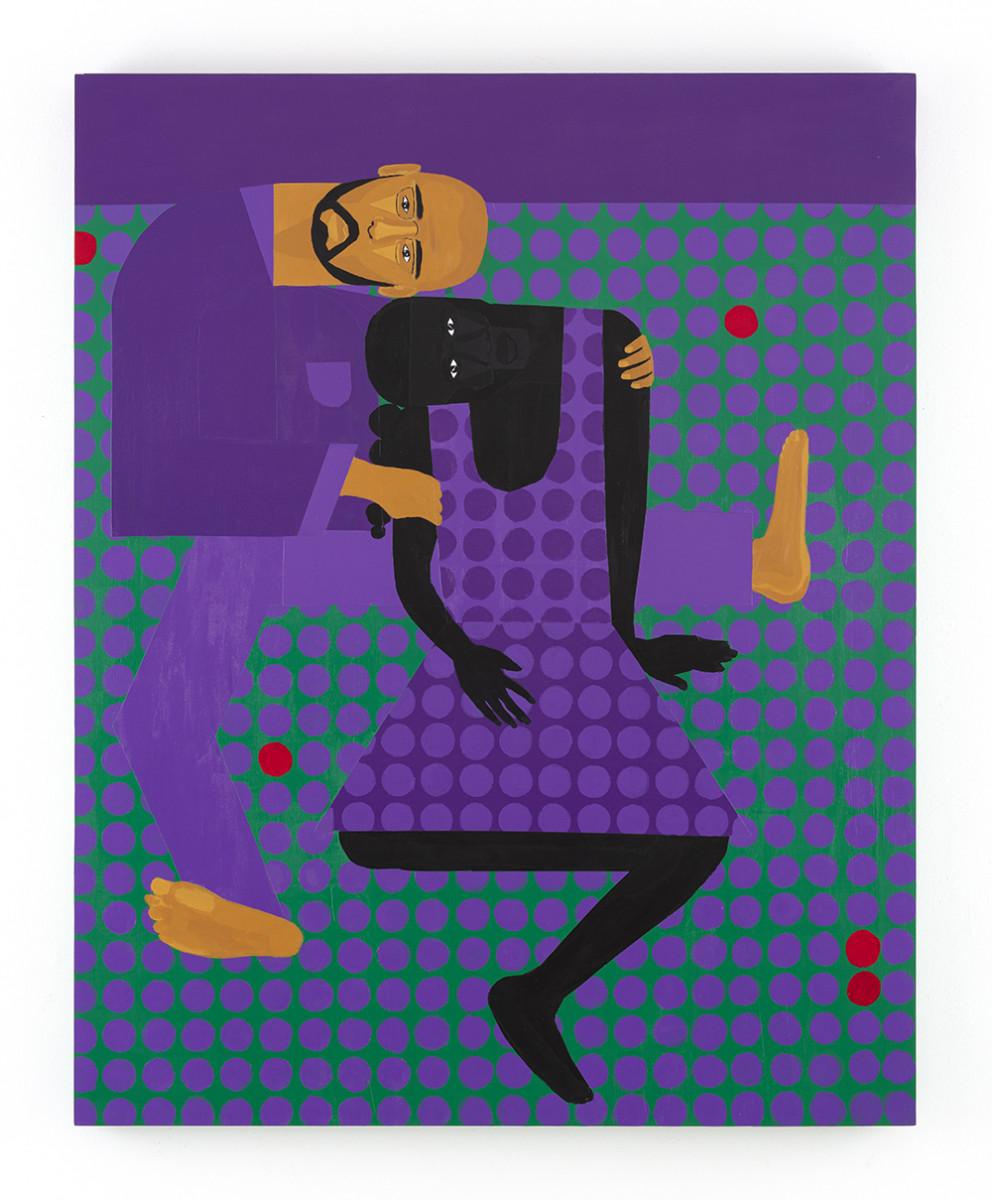 Jon Key. <em>Leandro and Sharina (Chosen Family No. 8)</em>, 2021. Acrylic on panel, 60 x 48 inches (152.4 x 121.9 cm)