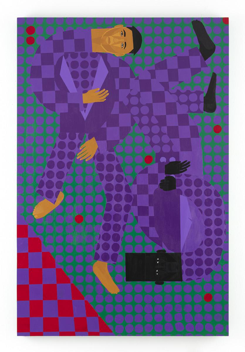 Jon Key. <em>Kit and Jon (Chosen Family No. 11)</em>, 2021. Acrylic on panel, 72 x 48 inches (182.9 x 121.9 cm)