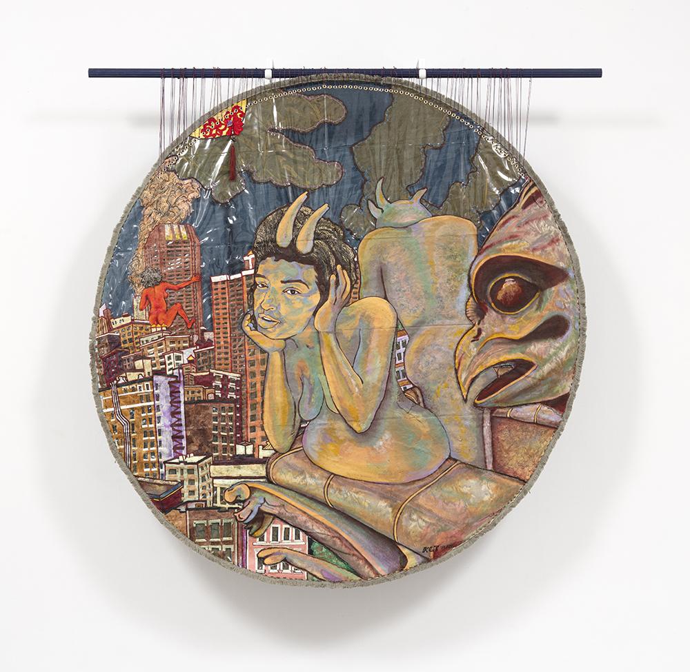Kiyomi Quinn Taylor. <em>Swimming Upstream</em>, 2021. Oil, ink, acrylic, paper, fabric, fabric trim, yarn and thread on plastic tablecover, 73 x 72 inches (185.4 x 182.9 cm)