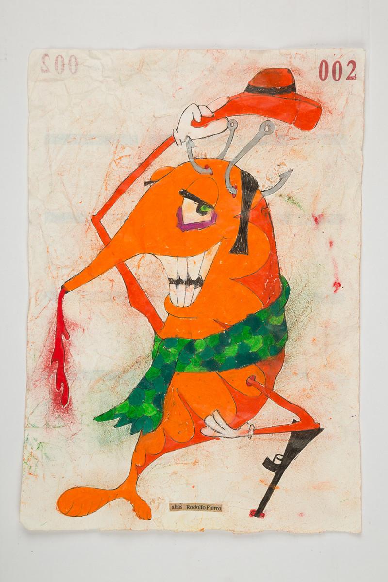 Camilo Restrepo. <em>Rodolfo Fierro</em>, 2021. Water-soluble wax pastel, ink, tape and saliva on paper 11 3/4 x 8 1/4 inches (29.8 x 21 cm)