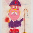 Camilo Restrepo. <em>Monseñor</em>, 2021. Water-soluble wax pastel, ink, tape and saliva on paper 11 3/4 x 8 1/4 inches (29.8 x 21 cm) thumbnail