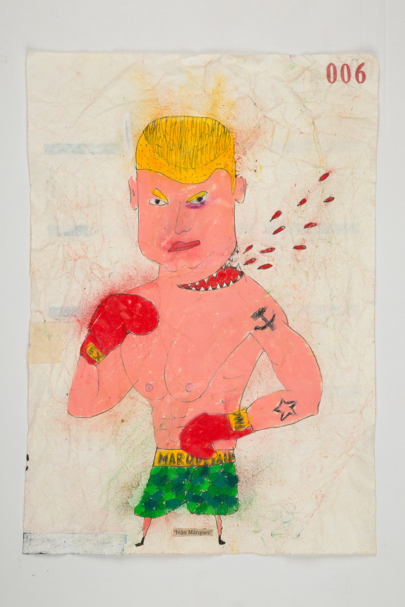 Camilo Restrepo. <em>Ivàn Màrquez</em>, 2021. Water-soluble wax pastel, ink, tape and saliva on paper 11 3/4 x 8 1/4 inches (29.8 x 21 cm)