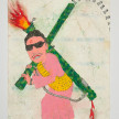 Camilo Restrepo. <em>Jesùs Santrich</em>, 2021. Water-soluble wax pastel, ink, tape and saliva on paper 11 3/4 x 8 1/4 inches (29.8 x 21 cm) thumbnail