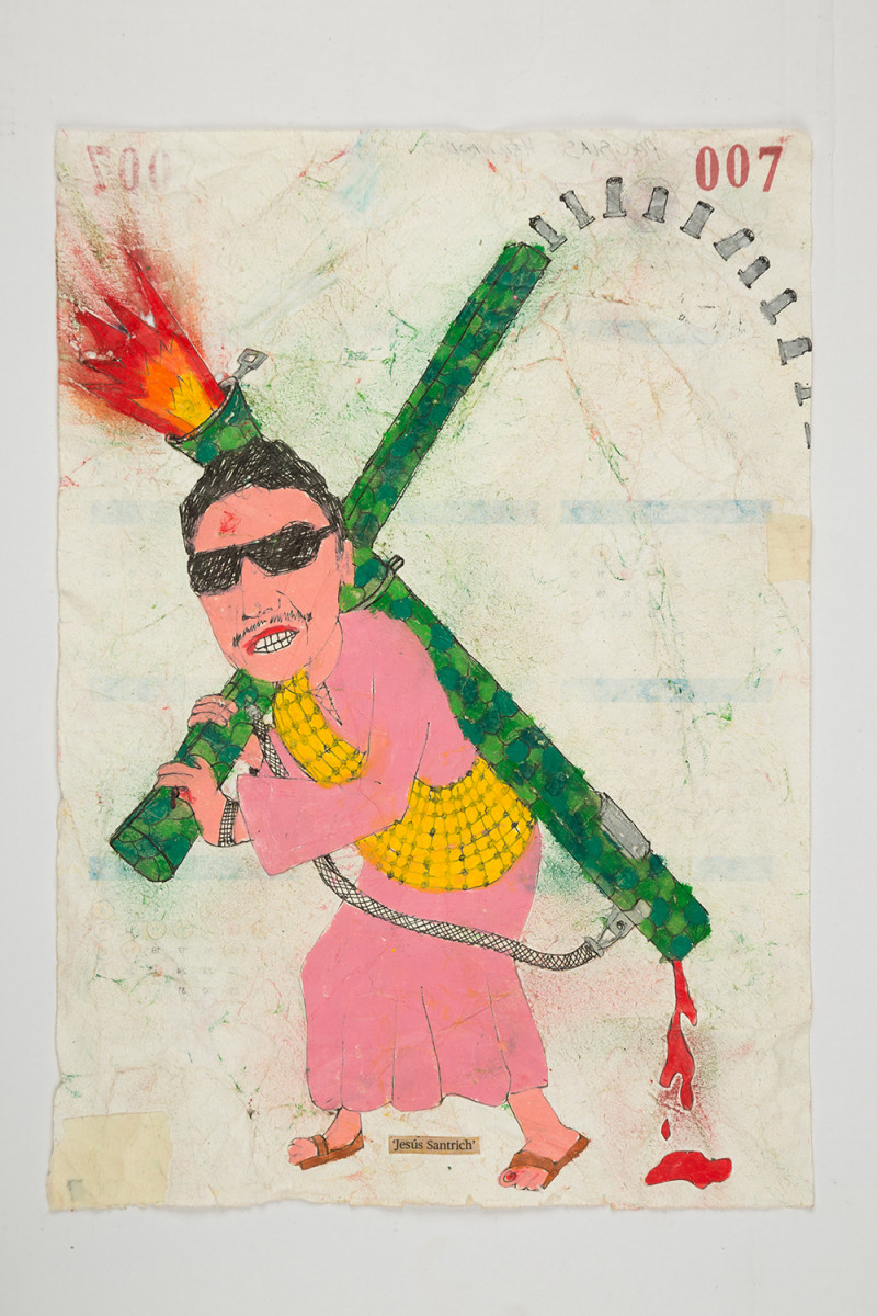 Camilo Restrepo. <em>Jesùs Santrich</em>, 2021. Water-soluble wax pastel, ink, tape and saliva on paper 11 3/4 x 8 1/4 inches (29.8 x 21 cm)