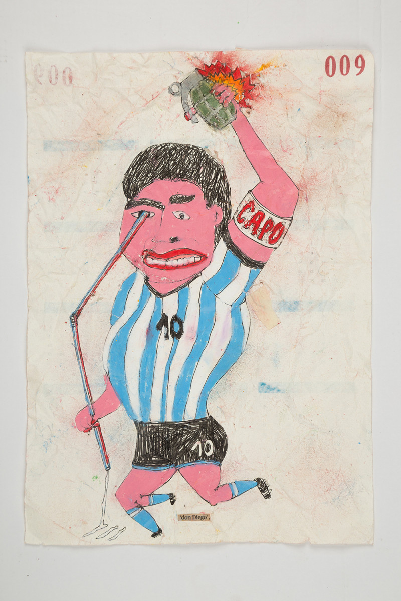 Camilo Restrepo. <em>Don Diego</em>, 2021. Water-soluble wax pastel, ink, tape and saliva on paper 11 3/4 x 8 1/4 inches (29.8 x 21 cm)