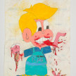Camilo Restrepo. <em>Pipe</em>, 2021. Water-soluble wax pastel, ink, tape and saliva on paper 11 3/4 x 8 1/4 inches (29.8 x 21 cm) thumbnail