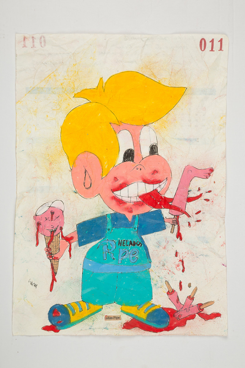 Camilo Restrepo. <em>Pipe</em>, 2021. Water-soluble wax pastel, ink, tape and saliva on paper 11 3/4 x 8 1/4 inches (29.8 x 21 cm)
