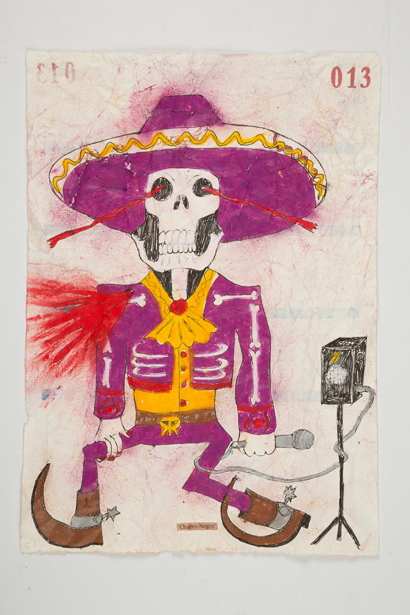 Camilo Restrepo. <em>Charro Negro</em>, 2021. Water-soluble wax pastel, ink, tape and saliva on paper 11 3/4 x 8 1/4 inches (29.8 x 21 cm)