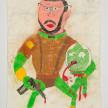 Camilo Restrepo. <em>Timoleòn Jimènez</em>, 2021. Water-soluble wax pastel, ink, tape and saliva on paper 11 3/4 x 8 1/4 inches (29.8 x 21 cm) thumbnail