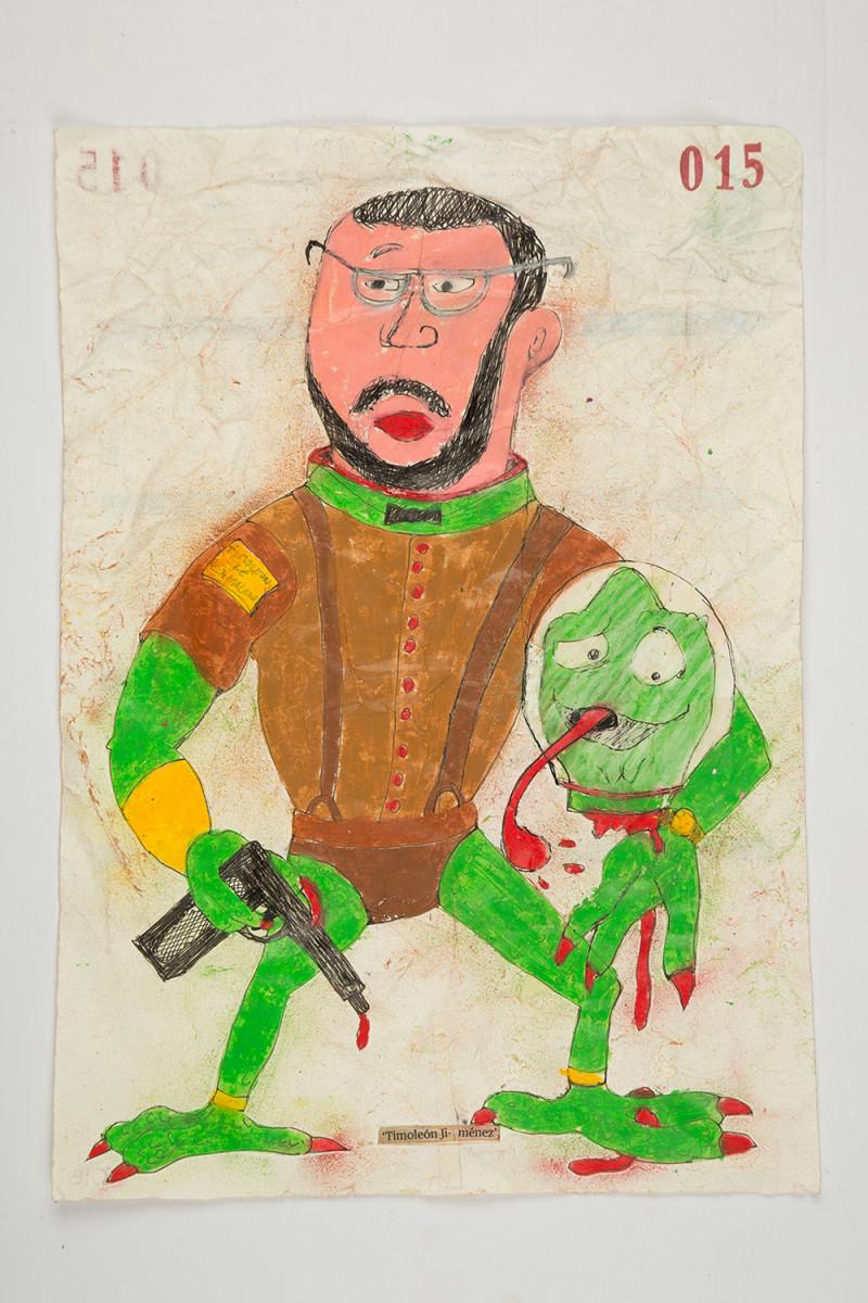 Camilo Restrepo. <em>Timoleòn Jimènez</em>, 2021. Water-soluble wax pastel, ink, tape and saliva on paper 11 3/4 x 8 1/4 inches (29.8 x 21 cm)