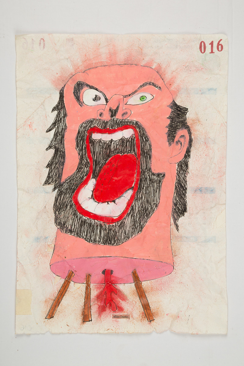 Camilo Restrepo. <em>Darìo</em>, 2021. Water-soluble wax pastel, ink, tape and saliva on paper 11 3/4 x 8 1/4 inches (29.8 x 21 cm)