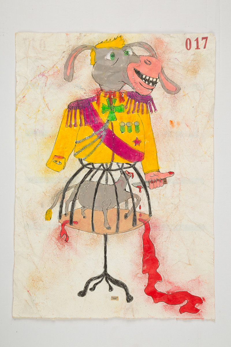 Camilo Restrepo. <em>Zar</em>, 2021. Water-soluble wax pastel, ink, tape and saliva on paper 11 3/4 x 8 1/4 inches (29.8 x 21 cm)
