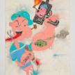 Camilo Restrepo. <em>Popeye</em>, 2021. Water-soluble wax pastel, ink, tape and saliva on paper 11 3/4 x 8 1/4 inches (29.8 x 21 cm) thumbnail