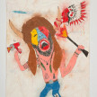 Camilo Restrepo. <em>Indio</em>, 2021. Water-soluble wax pastel, ink, tape and saliva on paper 11 3/4 x 8 1/4 inches (29.8 x 21 cm) thumbnail