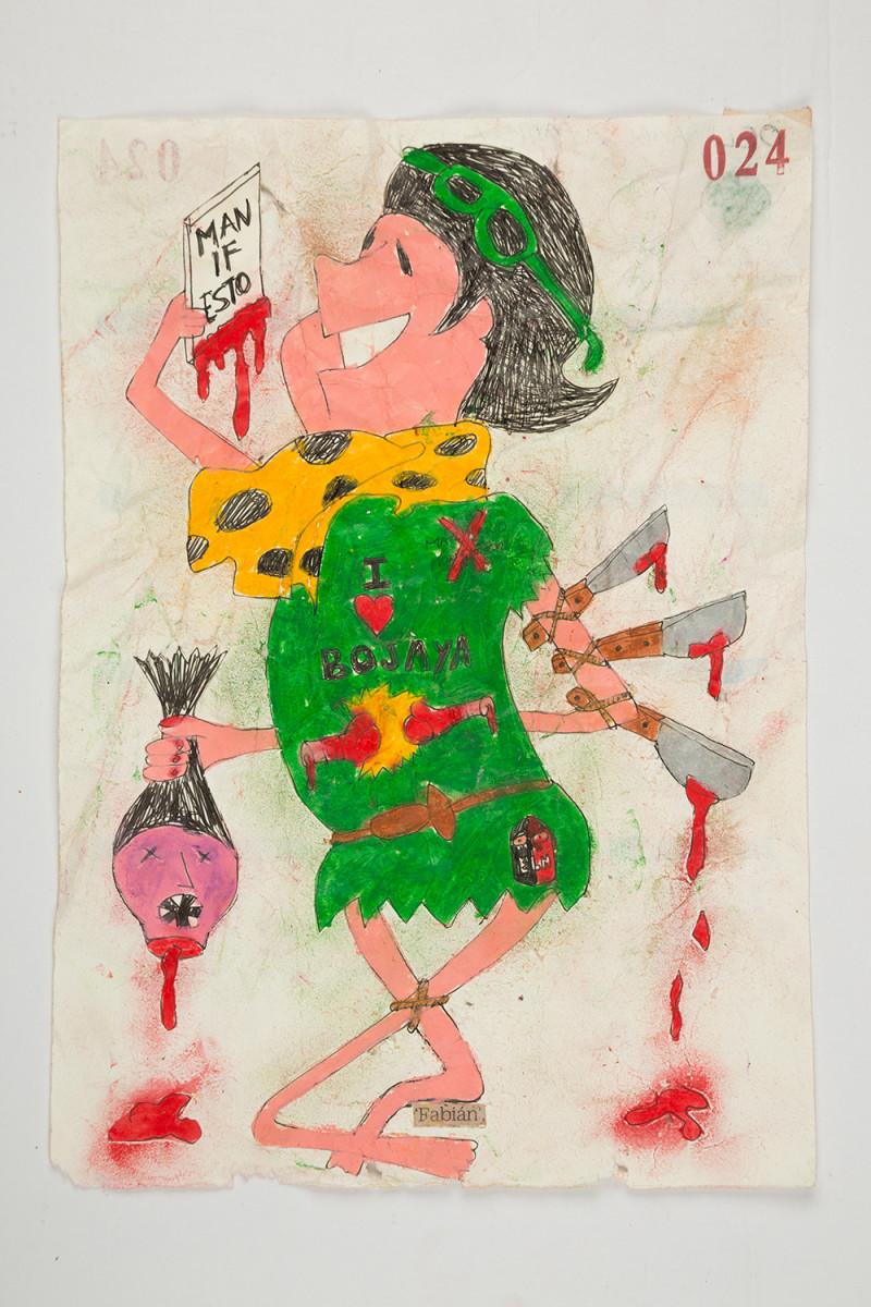 Camilo Restrepo. <em>Fabiàn</em>, 2021. Water-soluble wax pastel, ink, tape and saliva on paper 11 3/4 x 8 1/4 inches (29.8 x 21 cm)