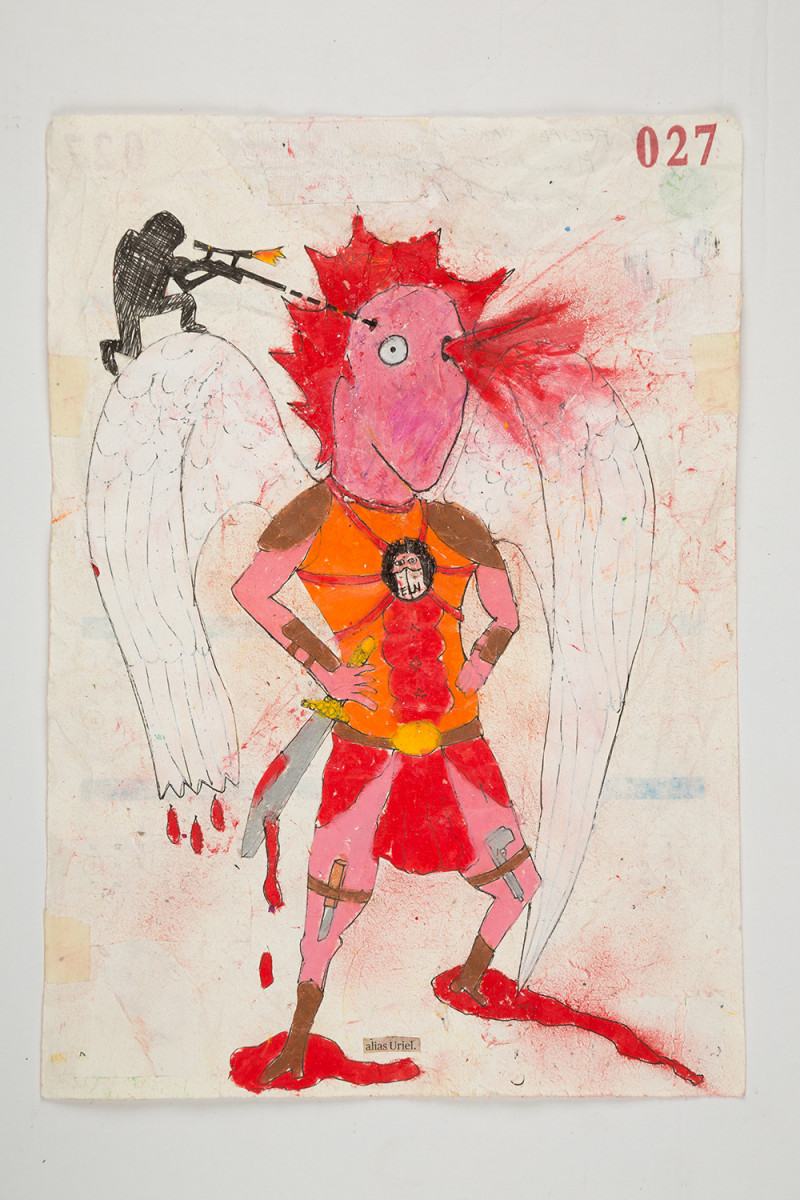 Camilo Restrepo. <em>Uriel</em>, 2021. Water-soluble wax pastel, ink, tape and saliva on paper 11 3/4 x 8 1/4 inches (29.8 x 21 cm)