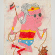 Camilo Restrepo. <em>Marta la abuela</em>, 2021. Water-soluble wax pastel, ink, tape and saliva on paper 11 3/4 x 8 1/4 inches (29.8 x 21 cm) thumbnail