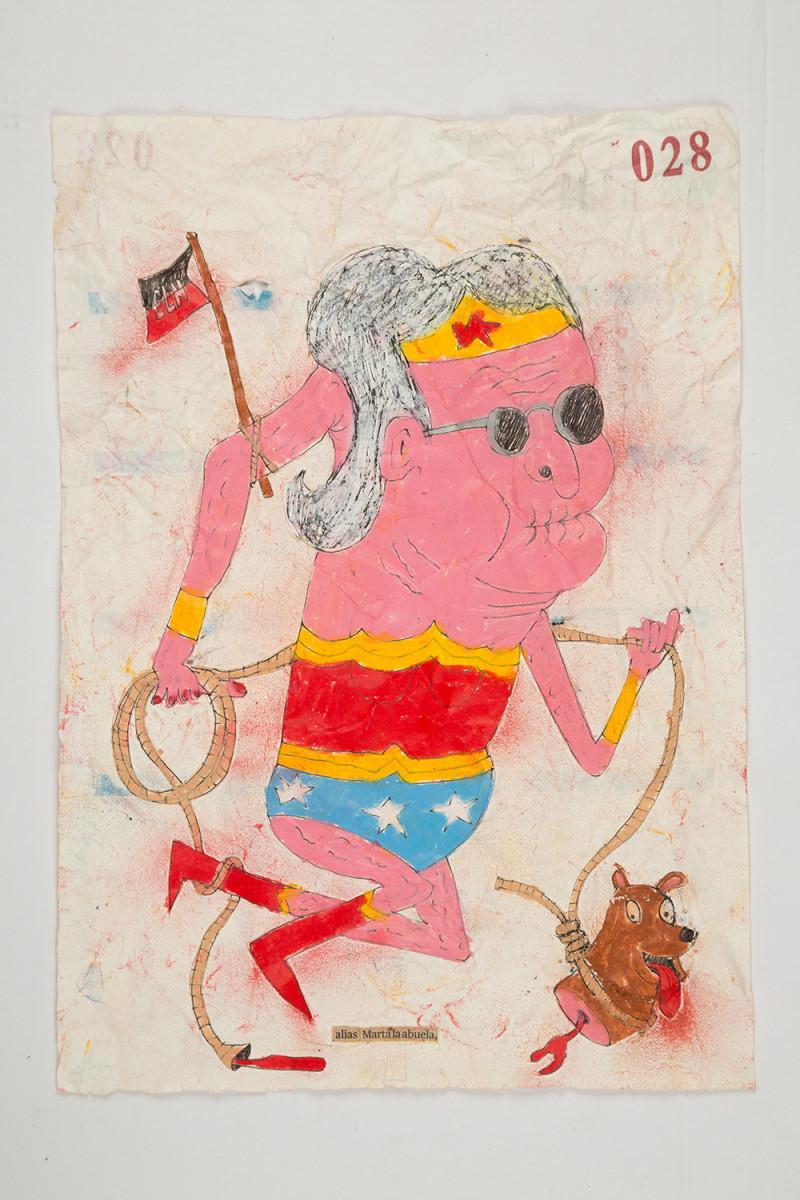 Camilo Restrepo. <em>Marta la abuela</em>, 2021. Water-soluble wax pastel, ink, tape and saliva on paper 11 3/4 x 8 1/4 inches (29.8 x 21 cm)