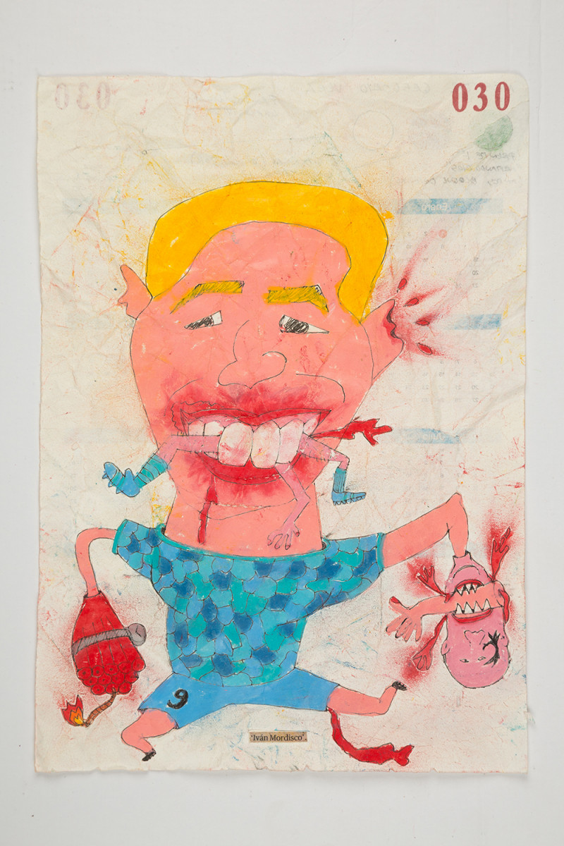 Camilo Restrepo. <em>Ivàn Mordisco</em>, 2021. Water-soluble wax pastel, ink, tape and saliva on paper 11 3/4 x 8 1/4 inches (29.8 x 21 cm)