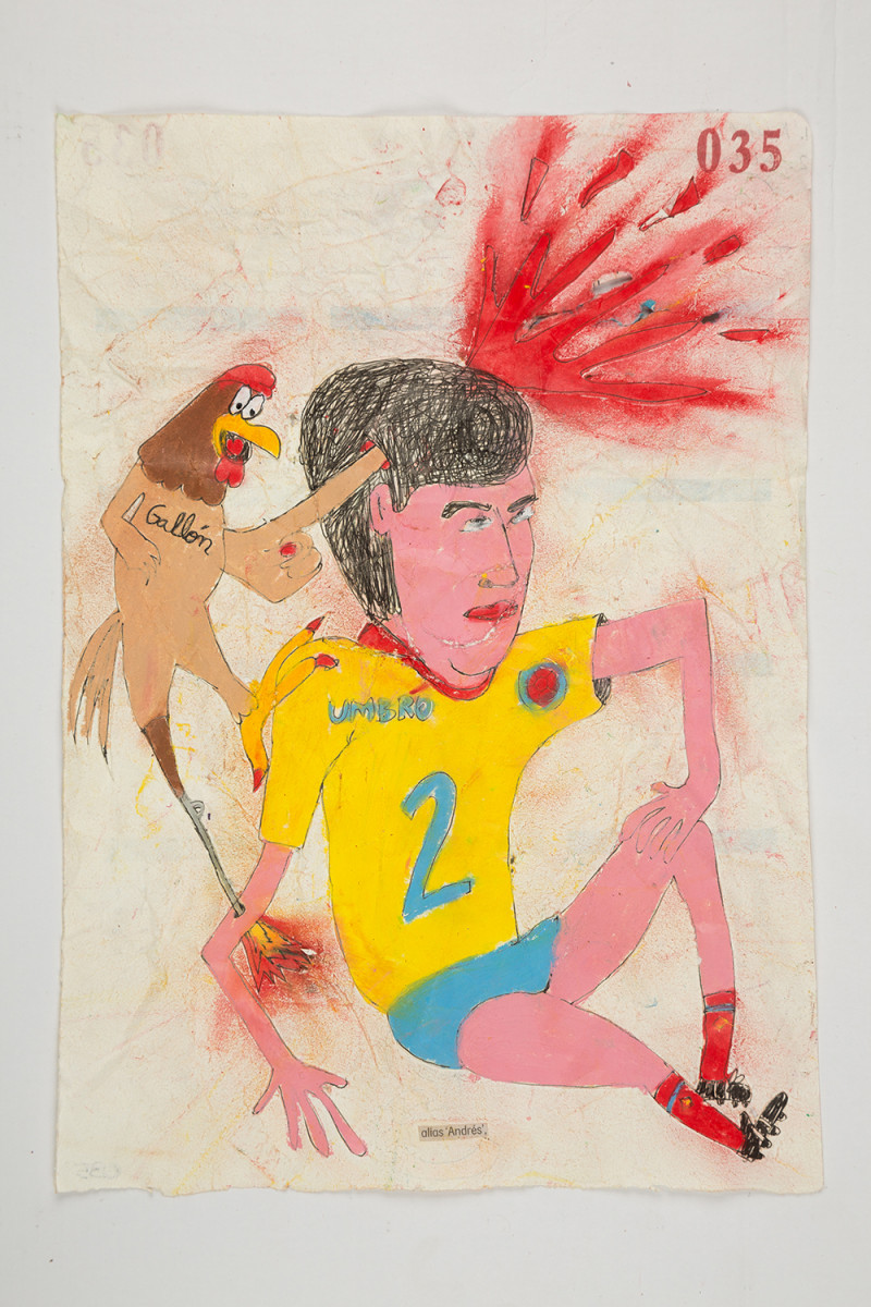 Camilo Restrepo. <em>Andrès</em>, 2021. Water-soluble wax pastel, ink, tape and saliva on paper 11 3/4 x 8 1/4 inches (29.8 x 21 cm)