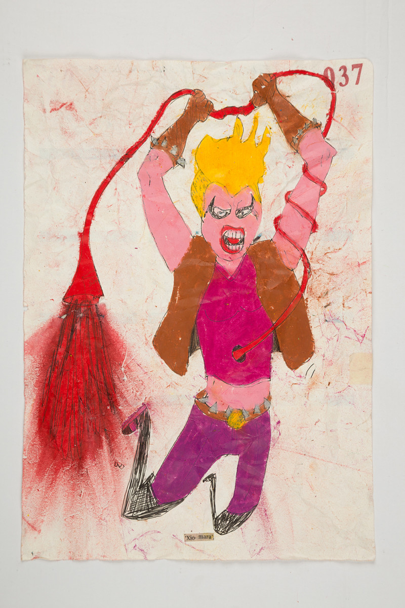 Camilo Restrepo. <em>Xiomara</em>, 2021. Water-soluble wax pastel, ink, tape and saliva on paper 11 3/4 x 8 1/4 inches (29.8 x 21 cm)