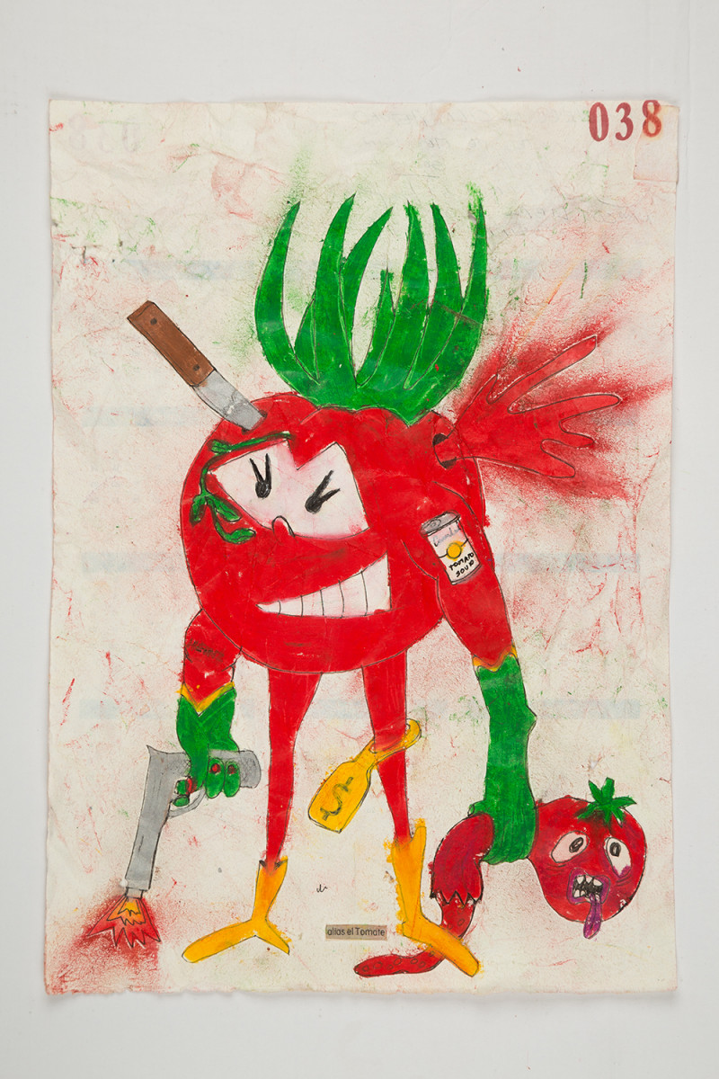 Camilo Restrepo. <em>Tomate</em>, 2021. Water-soluble wax pastel, ink, tape and saliva on paper 11 3/4 x 8 1/4 inches (29.8 x 21 cm)