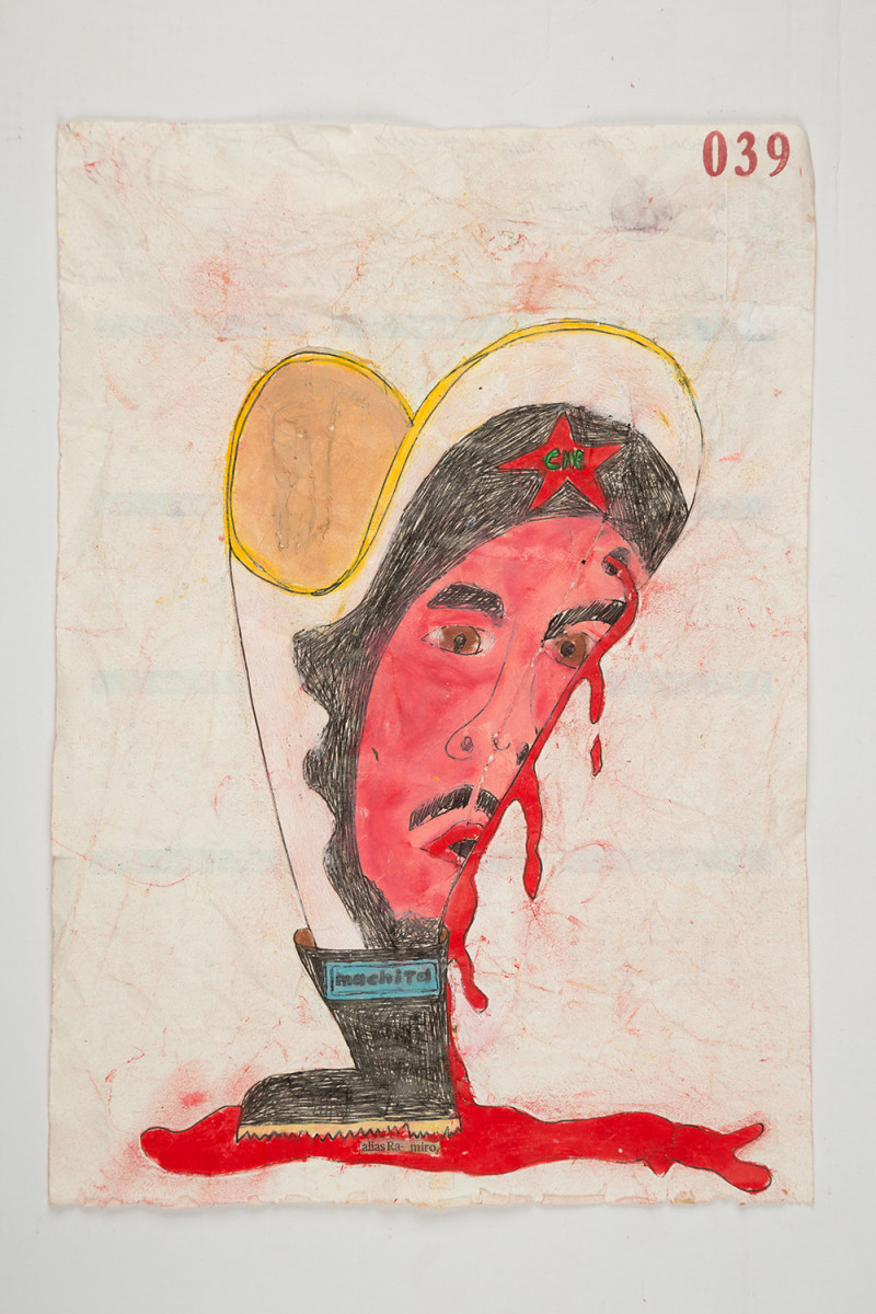 Camilo Restrepo. <em>Ramiro</em>, 2021. Water-soluble wax pastel, ink, tape and saliva on paper 11 3/4 x 8 1/4 inches (29.8 x 21 cm)
