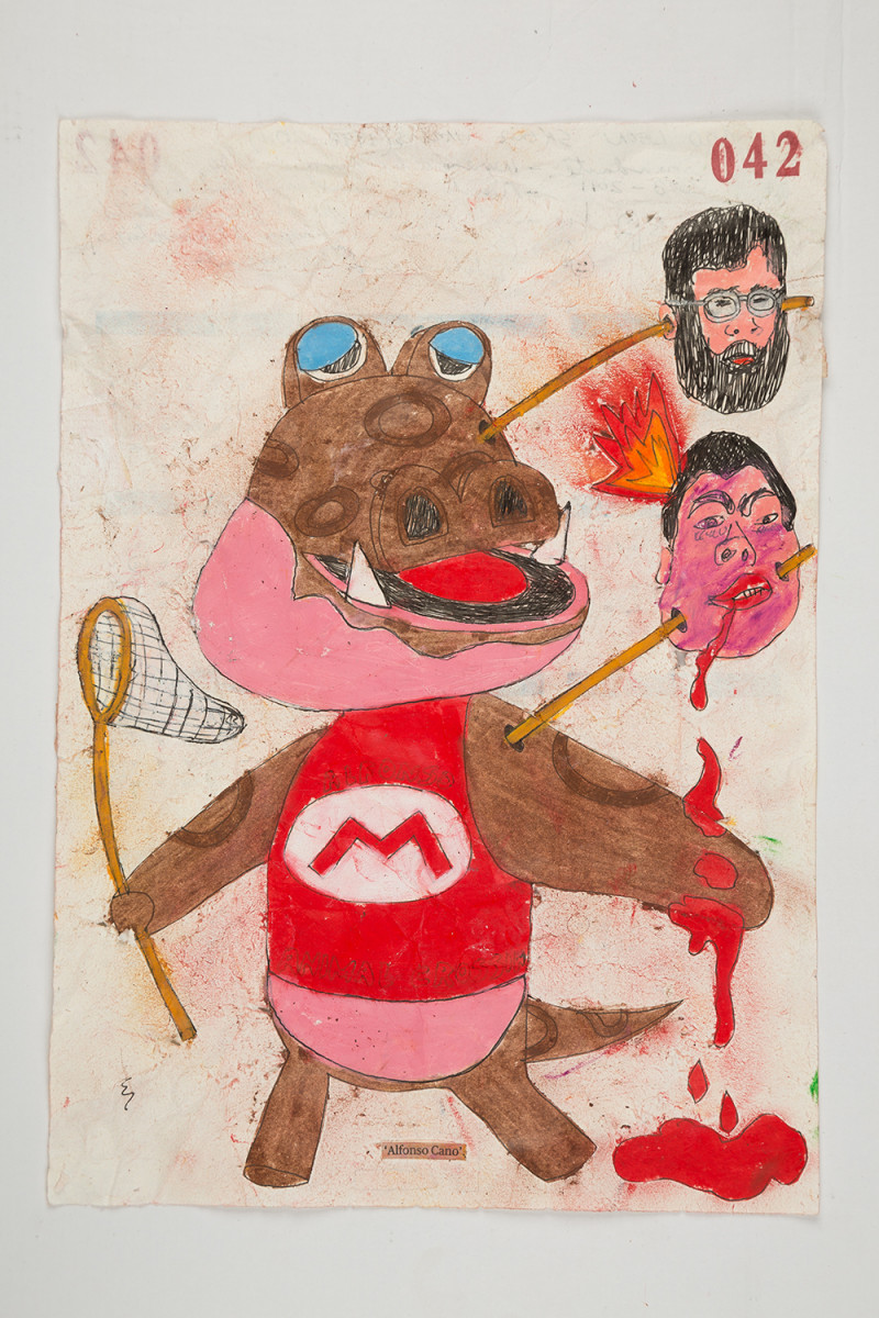 Camilo Restrepo. <em>Alfonso Cano</em>, 2021. Water-soluble wax pastel, ink, tape and saliva on paper 11 3/4 x 8 1/4 inches (29.8 x 21 cm)