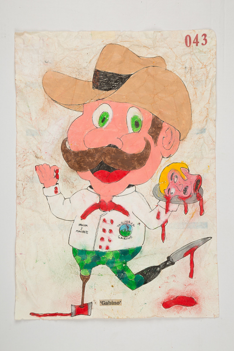 Camilo Restrepo. <em>Gabino</em>, 2021. Water-soluble wax pastel, ink, tape and saliva on paper 11 3/4 x 8 1/4 inches (29.8 x 21 cm)