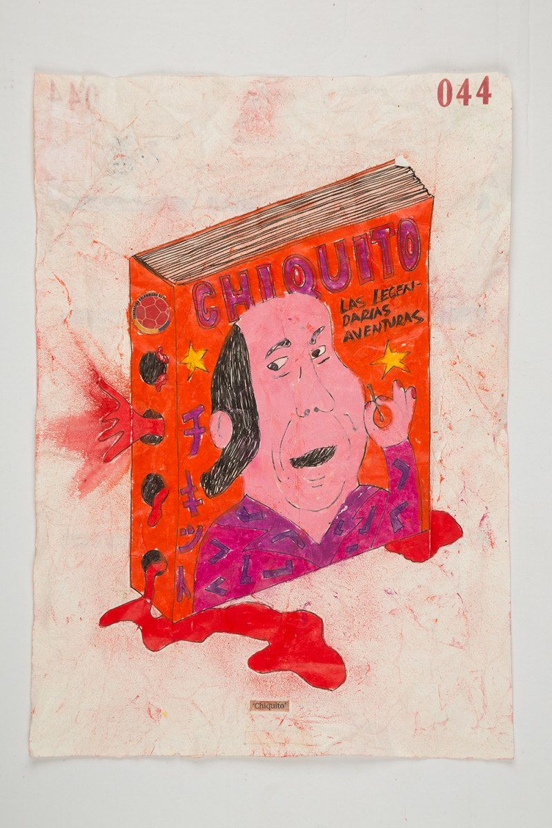 Camilo Restrepo. <em>Chiquito</em>, 2021. Water-soluble wax pastel, ink, tape and saliva on paper 11 3/4 x 8 1/4 inches (29.8 x 21 cm)