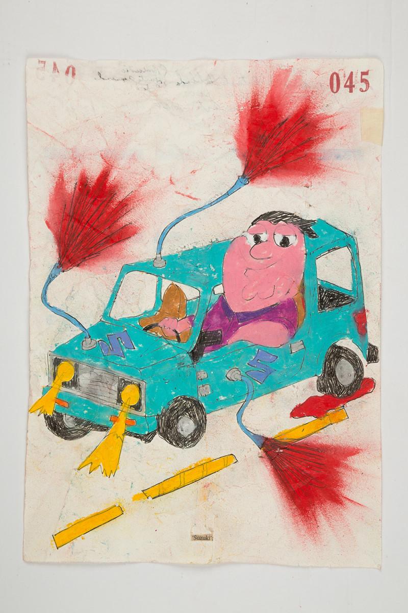 Camilo Restrepo. <em>Suzuki</em>, 2021. Water-soluble wax pastel, ink, tape and saliva on paper 11 3/4 x 8 1/4 inches (29.8 x 21 cm)